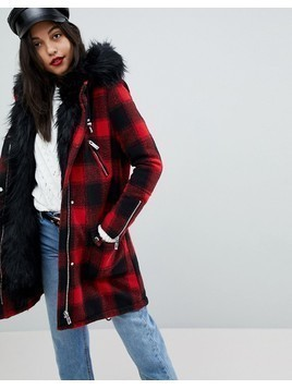 River Island Faux Fur Check Parka Coat - Multi