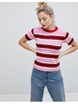 Daisy Street Knitted Jumper In Candy Stripe - Pink