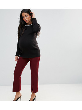 ASOS MATERNITY Tailored Vent Front Kick Flare Trouser - Red