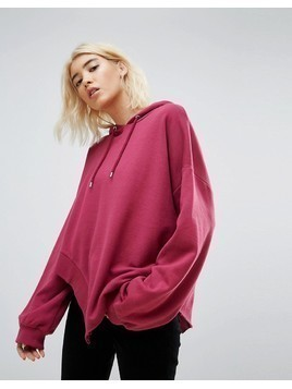 ASOS Hoodie in Oversized Fit and Ravaged Detail - Red