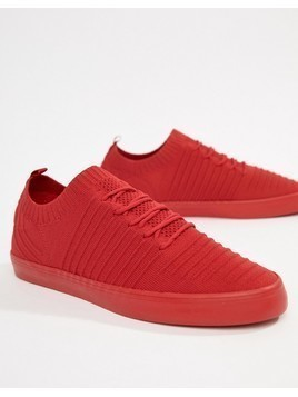 Bershka Knitted Trainer In Red - Red