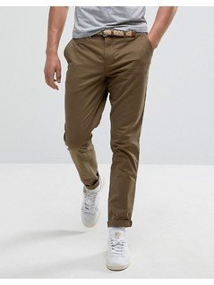 Pull&Bear Slim Chinos With Belt In Tan - Tan