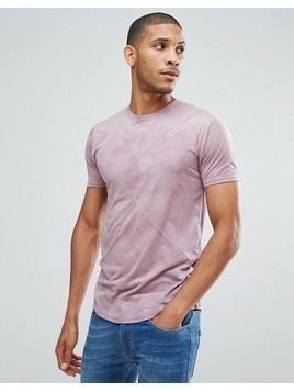 Loyalty and Faith Panelled Suedette T-Shirt - Pink