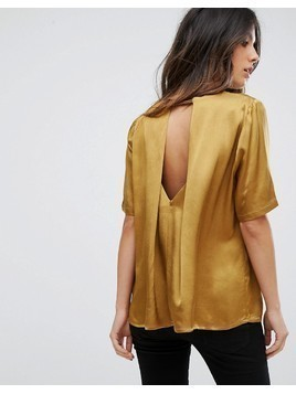 Soaked In Luxury Cut Out Back Metallic Blouse - Gold