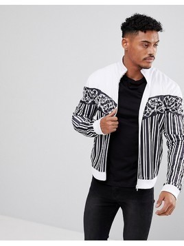 Jaded London Track Jacket In White With Stripes And Chevron Print - White