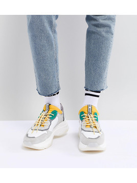 Bronx Yellow & Green Suede Chunky Trainers - White