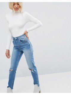 ASOS FARLEIGH High Waisted Slim Mom Jeans With 80's Seam Detail In Mid Wash Blue - Blue