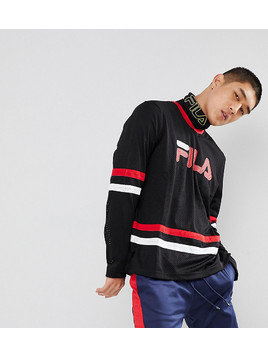 Fila Black Line Mesh Long Sleeve T-Shirt With Logo In Black Line - Black