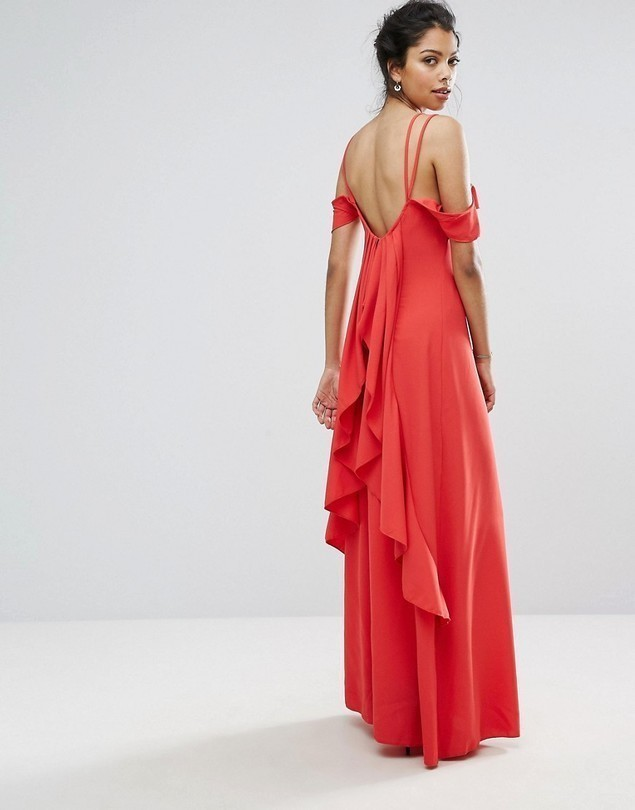 Boohoo Ruffle Back Maxi Dress - Red