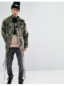 Sixth June Parka In Camo - Green