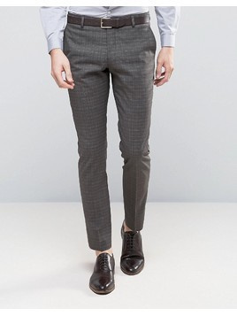 Selected Homme Skinny Suit Trousers In Check - Brown