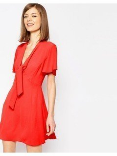 ASOS Pussybow Dress - Red