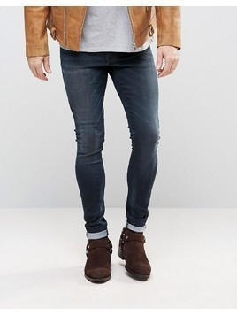 ASOS Extreme Super Skinny Jeans In Dark Blue - Blue