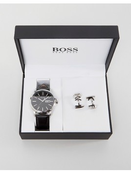 BOSS By Hugo Boss Leather Watch&Cuff Links Gift Set - Black