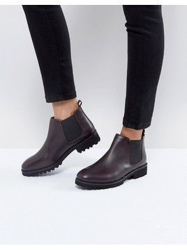 ASOS ANALISE Leather Chelsea Boots - Red