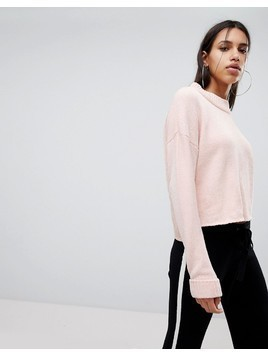 Noisy May High Neck Chenille Cropped Jumper - Pink