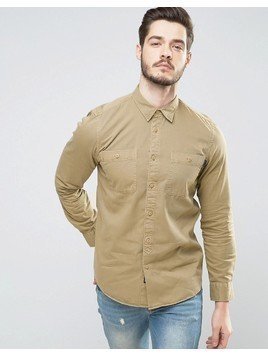 Jack Wills Bagley Military Shirt in Regular Fit - Beige