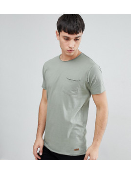Brave Soul TALL Basic Raw Edge T-Shirt - Green