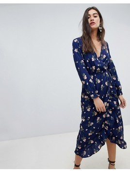 Influence Floral Midi Wrap Dress With Ruffle - Navy