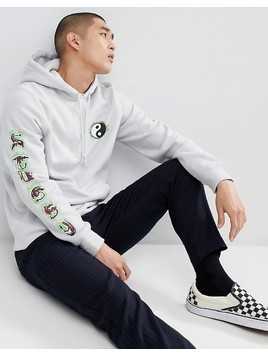 Stussy Hoodie With Yin Yang Fire Print In Fog - White