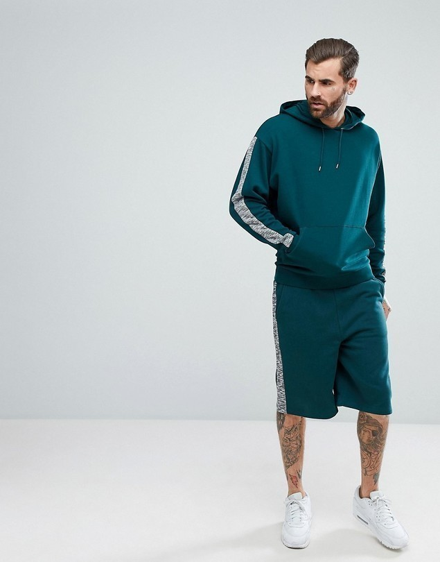 ASOS Tracksuit Oversized Hoodie/ Oversized Shorts With Slub Panels - Green