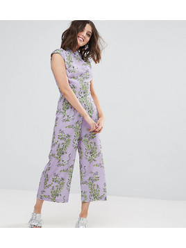 ASOS PETITE Jumpsuit with High Neck and Wide Leg in Print - Purple