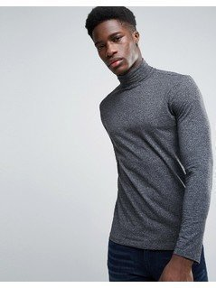 New Look Long Sleeve Roll Neck Top In Grey - Grey