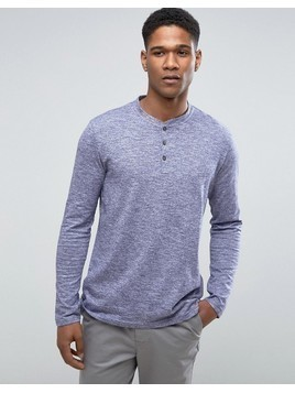 Burton Menswear Long Sleeve Top In Texture - Blue