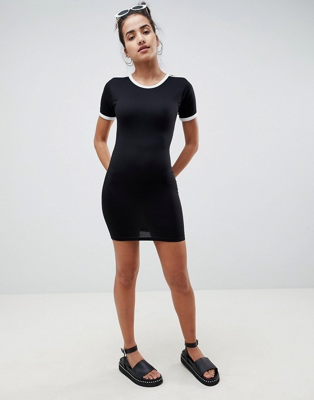 Missguided Stripe Bodycon T-Shirt Dress - Black