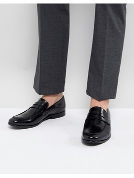 Zign Leather Penny Loafers In Black - Black