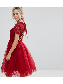 Chi Chi London Petite Midi Tulle Dress with Lace Up Back - Red
