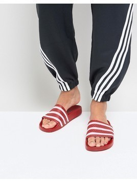 adidas Originals Adilette Sliders In Red 288193 - Red