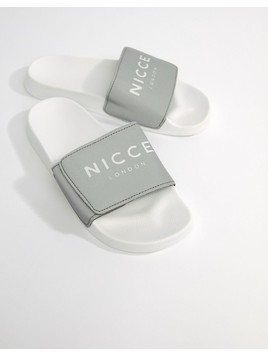 Nicce London Logo Sliders In Reflective - Grey
