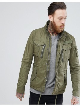 Schott Squad Military Overshirt Jacket in Green - Green