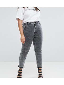 ASOS CURVE FARLEIGH High Waist Slim Mom Jeans in Moon Black Acid Wash - Black