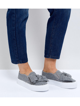 ASOS DISCOVERY Wide Fit Bow Flatform Plimsolls - Grey