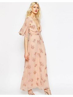 ASOS Flutter Sleeve Maxi Dress With Pretty Florals - Pink