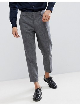 Farah Cropped Trousers in Wool Mix Slim Fit - Grey