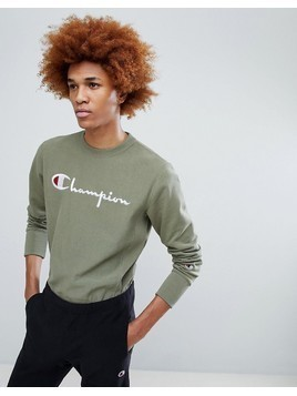 Champion Sweatshirt With Large Logo In Khaki - Green