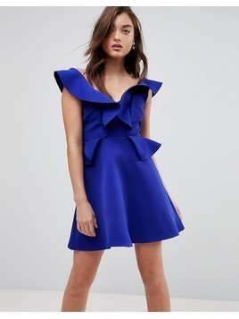 River Island Frill Detail A-Line Mini Dress - Blue