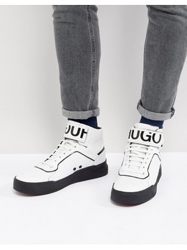 HUGO Reverse Logo Hi Top Trainers in White - White