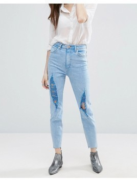 ASOS FARLEIGH High Waist Slim Mom Jeans In Fran Light Mottled Wash with Super Busts and Stepped Hem - Blue