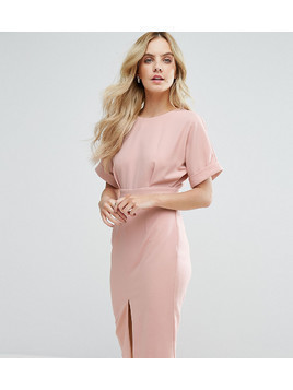 ASOS PETITE Smart Woven Dress with V Back and Split Front - Pink