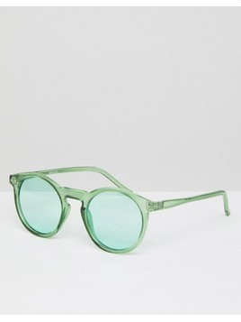 ASOS Round Sunglasses In Crystal Green With Green Lens - Green