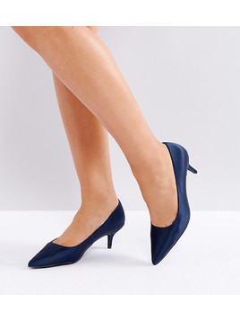 New Look Wide Fit Satin Pointed Kitten Heel Court - Navy