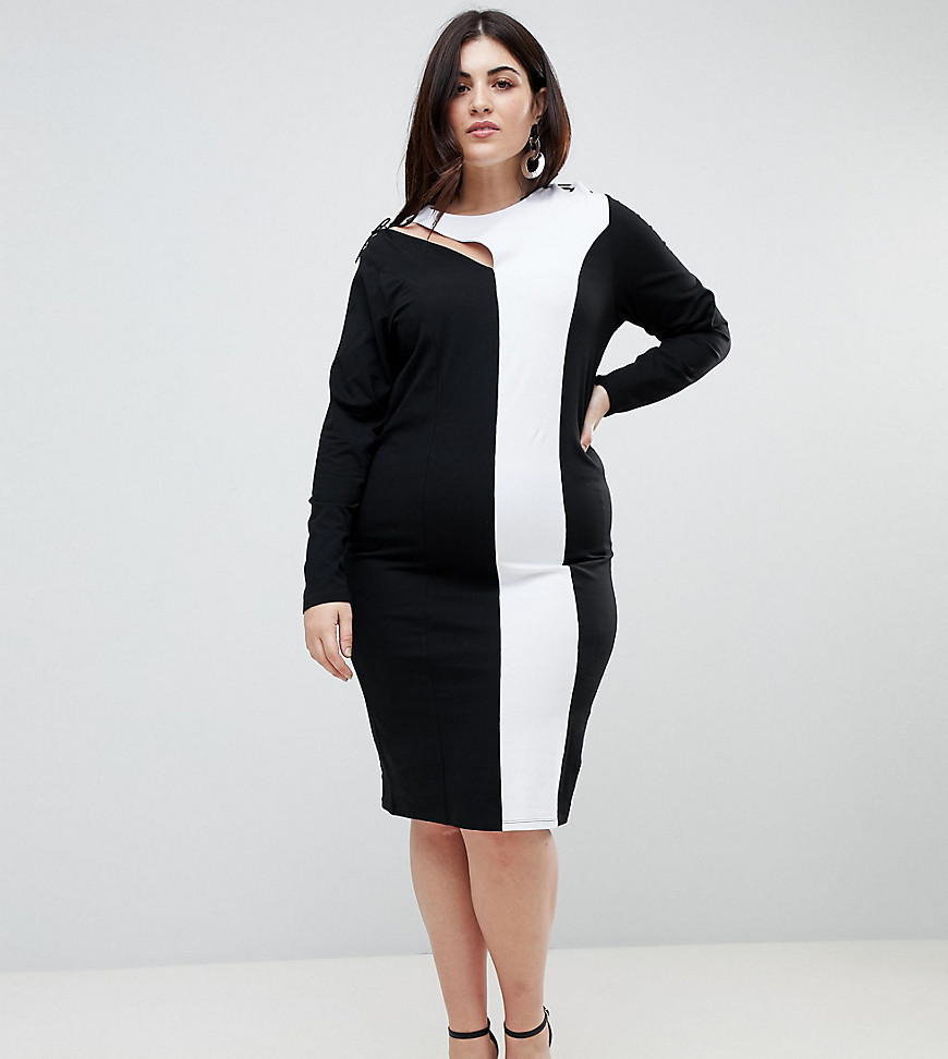 ASOS CURVE Colour Block Midi Bodycon Dress With Asymmetric Sleeve And Lace Up Detail - Multi