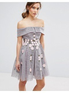 New Look Premium Floral Mesh Bardot Skater Dress - Grey