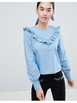 Only Siga Frill Front Denim Blouse - Blue