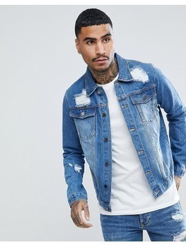 Criminal Damage Distressed Denim Jacket - Blue