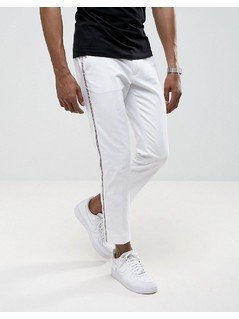 ASOS Super Skinny Smart Trouser with Tux Stripe in White - White